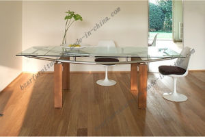 Tempered Glass Chrome Plated Iron Tube Dining Table (ST-5192)