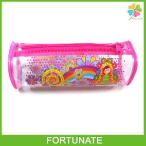 Round Plastic PVC Pencil Bag with Piping for Stationery pictures & photos