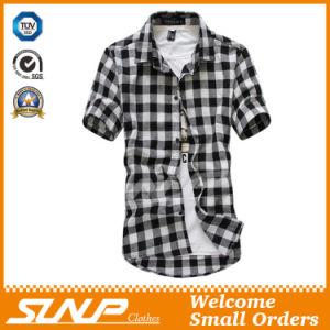 High Quality Men′s Plaid Short Sleeve T-Shirt Clothes