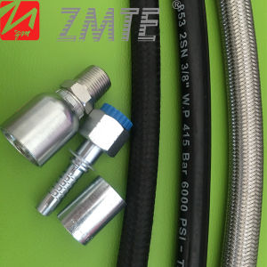 Zmte SAE100 R2at High Pressure Rubber Hydraulic Hose with Hydraulic Fitting pictures & photos