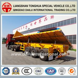 3 Axles Bulk Cargo Transport Drop Side Semi Trailer pictures & photos