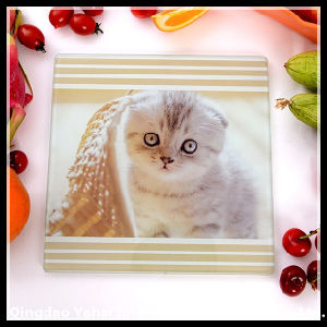 Square Tempered Glass Cutting Board with Cute Animal Pattern pictures & photos