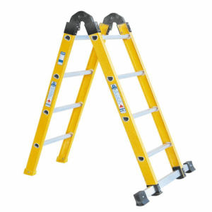 35kv Yellow Fiberglass 2-Section Folding Ladder pictures & photos