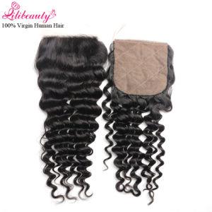 7A Grade Peruvian Remy Human Hair Deep Curly Silk Base Closure 4X4 pictures & photos