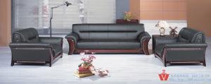 Royal Black Leather Sofa/High Density Foam Sofa (WP5-3012)
