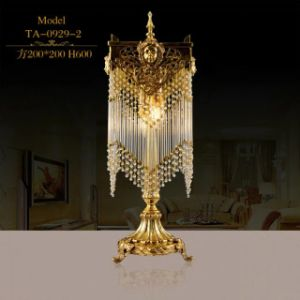 Bedside Hotel Degsign Antique Brass Table Lamp with Crystal (TA-0929-2) pictures & photos