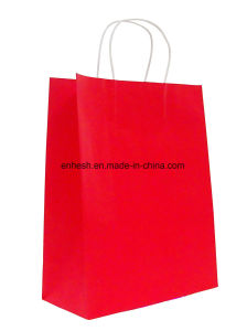 Design Paper Manufacturer Kraft Paper Bag with Twist Handle pictures & photos