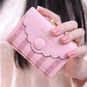 Pink Cartoon Bow and Pinstripe Print Girls Wallet pictures & photos