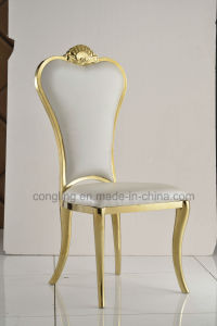 Modern White Leather Dining Golden Chairs pictures & photos