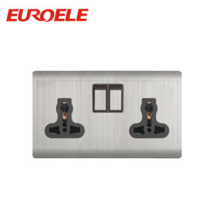 Stainless Steel 13A Double Universal Wall Socket pictures & photos