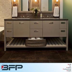 European Style Quartz Countertop with Handle Bathroom Double Vanities pictures & photos