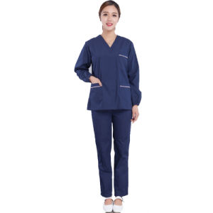 100% Cotton Unisex Medical Scrubs Design with V-Neck pictures & photos