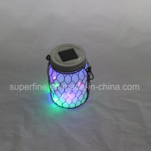 Christmas LED Color Changing Glittering Jar Street Solar Lights with Metal Net pictures & photos