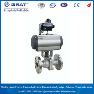 Dn65 Flange Type Pneumatic Ball Valve with Limit Switch pictures & photos