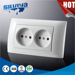 2 Gang Wall Socket with Child Protction/European Standard Ce Certificate pictures & photos