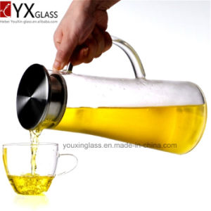OEM and ODM Cold Tea Juice Milk Glass Jars/Clear Glass Water Jug with Side Handle and Lid for Cold Drinks/Glass Water Pitcher Kittle Pot pictures & photos