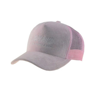 Simple Pink Velours Snapback Trucker Hat with Embroidery pictures & photos