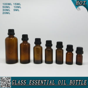 Amber Glass Essential Oil Bottle with Black Plastic Cap pictures & photos
