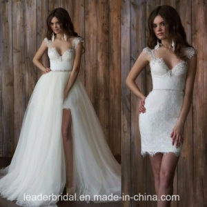 Lace Bridal Gowns Cap Sleeves Short Tulle Wedding Dresses Z9021 pictures & photos