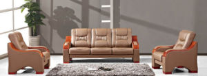 Italy Design Classic Wooden Office Furniture Leather Office Sofa (NS-S318) pictures & photos