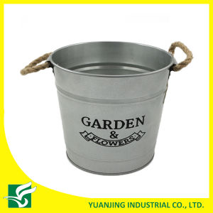 Home Decoration Metal Zinc Bucket with Hemp Rope Handle pictures & photos