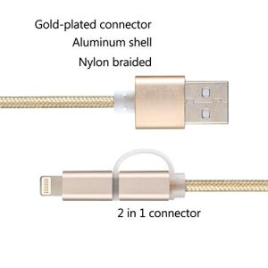2in1 Lightning and Micro USB Cable Nylon Braided High Speed Sync and Charging Lightning Cable Cord for iPhone 7 Plus/6s Plus/5, iPad /iPod, pictures & photos