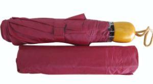 21inch Manual Open Wood Handle 3 Fold Umbrella (SU016) pictures & photos