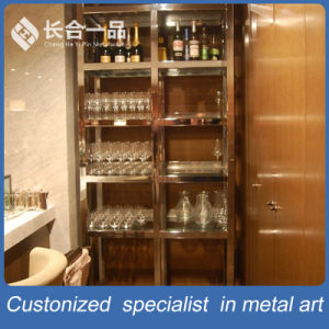 Hotsale Stainless Steel Hairline Rose Gold Wine Display Shelf/Rack pictures & photos