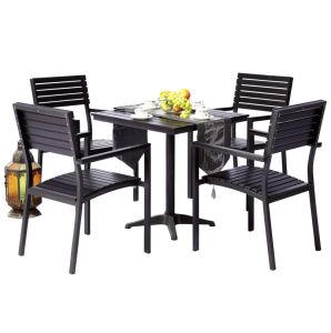 Patio Gaden Furiture Aluminum Teak Colour Plastic Wood Table Arm Chair (J826) pictures & photos