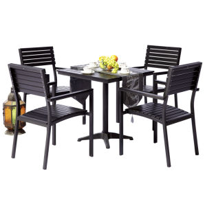 Patio Gaden Home Hotel Office Aluminum Teak Plastic Wood Table and Chair (J826) pictures & photos