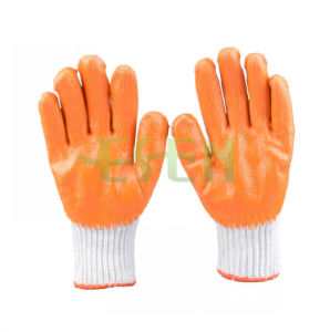7g Knitted Cotton Latex Foam Crinkle Palm Coating Durable Adjustable Safety Gloves pictures & photos