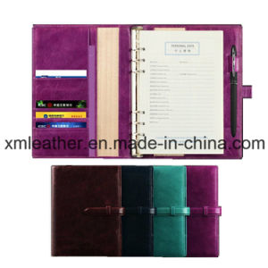 Fashion Personalized Leather Cover Journal Diary with Ring Binder pictures & photos