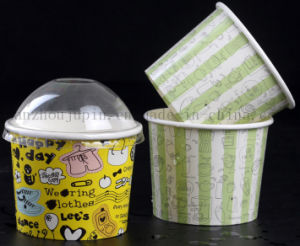 OEM Disposable Buttermilk Ice Cream Paper Cup with Cover pictures & photos