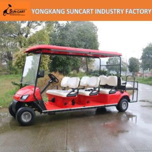 Red 8 Seats Electric Sightseeing Golf Car for Sale pictures & photos