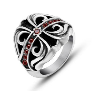 Dark Gothic Cross Ring Stainless Steel Blood Red Zircon pictures & photos
