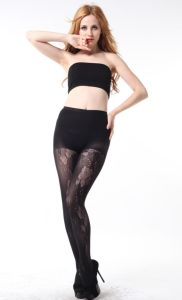 Ladies Sexy Fishnet Hosiery with Flora Pattern pictures & photos