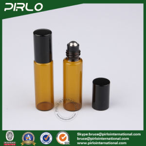 5ml Amber Color Essential Oil Roll on Bottle with Stainless Steel Roller and Black Cap pictures & photos