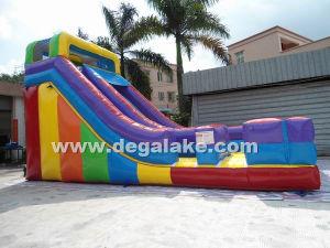 18′h Inflatable Rainbow Single Lane Slide for Amusement Park