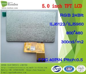 5.0 Inch 800*480 RGB 40pin 300CD/M2 LCD Display with Touch Screen pictures & photos