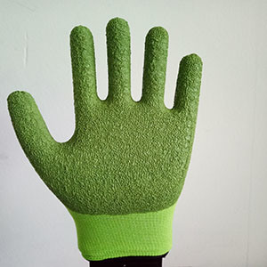 Custom Service Soft Nylon Wrinkle Latex Coated Safety Gloves for Garden pictures & photos