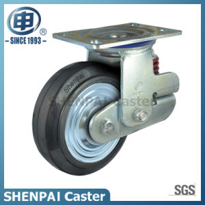 """5""""Heavy Duty Single Springs PU Swivel Shockproof Caster Wheel pictures & photos"""