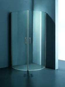 Corner Frameless Shower Doors with Rotating Shaft K-708A pictures & photos