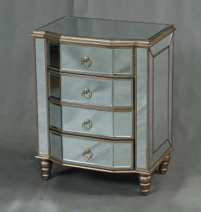 Home Decoration Mirrored Bedside Table Furniture with Hand Carved Glass pictures & photos