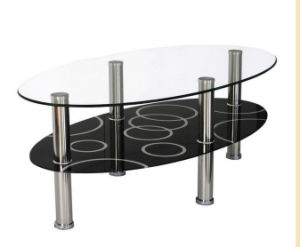Modern Oval Tempered Glass Coffee Table with Metal Stainless Steel Legs pictures & photos