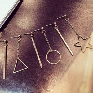 Metal Star Triangle Geometric Asymmetric Dangle Earrings Simple Hollow Trendy Ear Earrings Jewelry pictures & photos