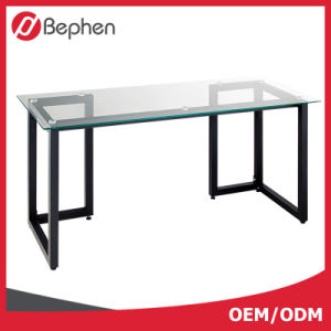 Clear Glass and Steel Glass Computer Desk