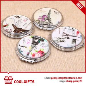 Heart Shape Small PU Leather Compact Cosmetic Mirror/Pocket Mirror pictures & photos