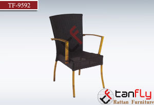Cafe Shop Furniture Bamboo Look Patio Arm Chair