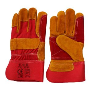 Cow Split Leather Cut Resistant Double Palm Working Safety Gloves pictures & photos