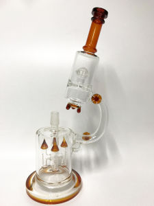 Hbking 14inch Oil Rigs Twister Recycler Glass Water Pipe Glass Smoking Pipe with Inline Percolator pictures & photos